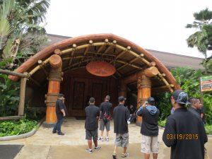 Students enter the Polynesian Cultural Center
