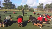 Students doing push-ups